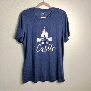 """Tickled Teal """"Race you to the castle"""" Sz L"""